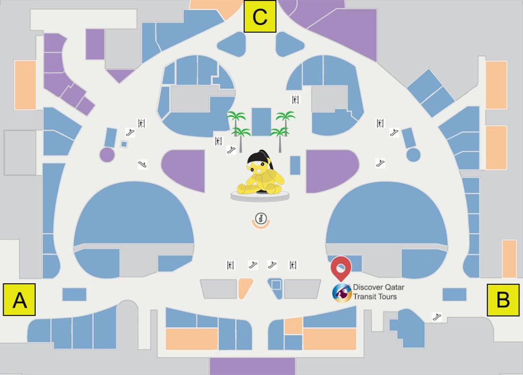 ドーハ ハマド空港の案内地図