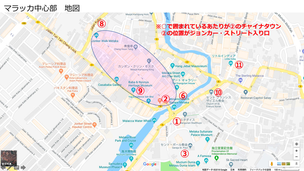 【地図】マラッカ中心部