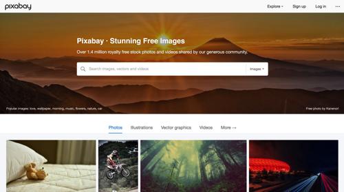 Pixabay HPトップ画面