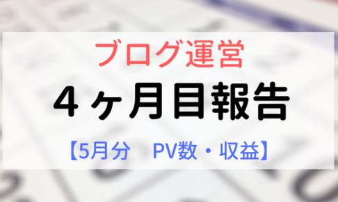 ブログ運営報告【4ヶ月目】5月PV数